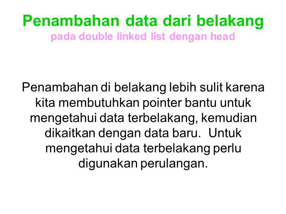 Penambahan data dari belakang pada double linked list dengan head