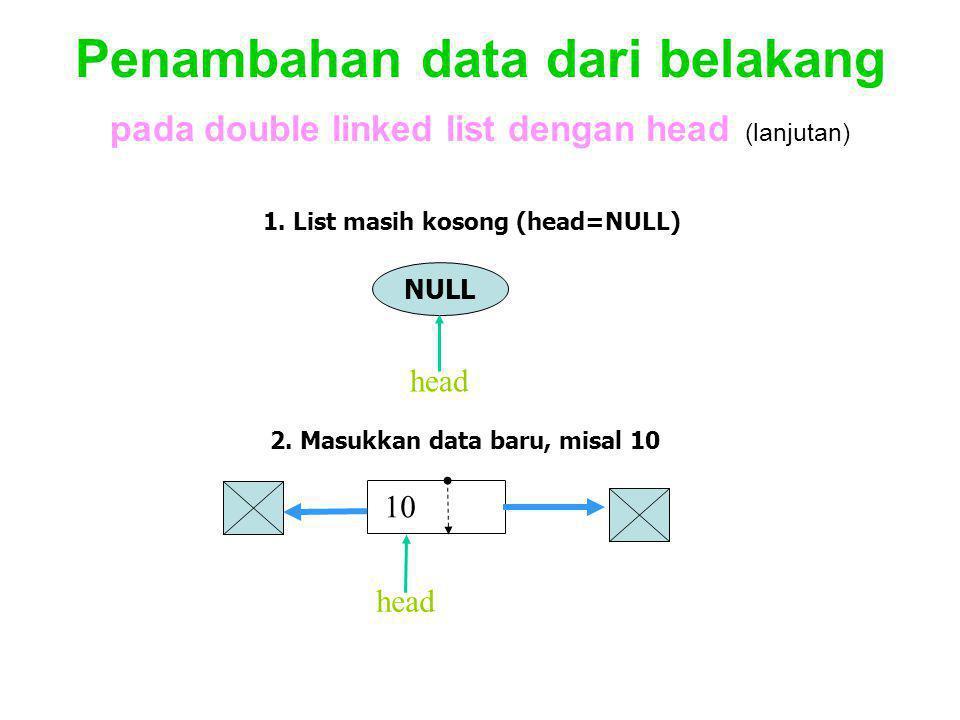 Penambahan data dari belakang pada double linked list dengan head (lanjutan)