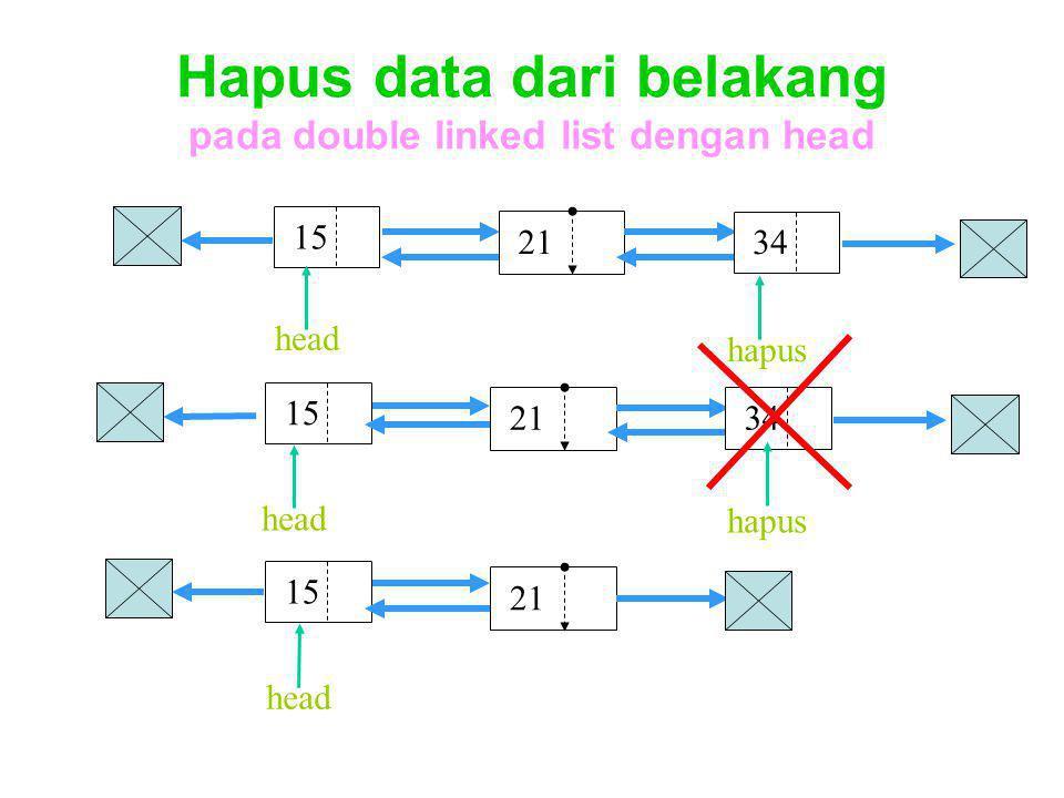 Hapus data dari belakang pada double linked list dengan head