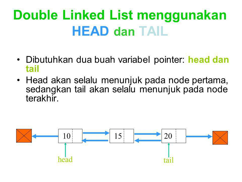 Double Linked List menggunakan HEAD dan TAIL