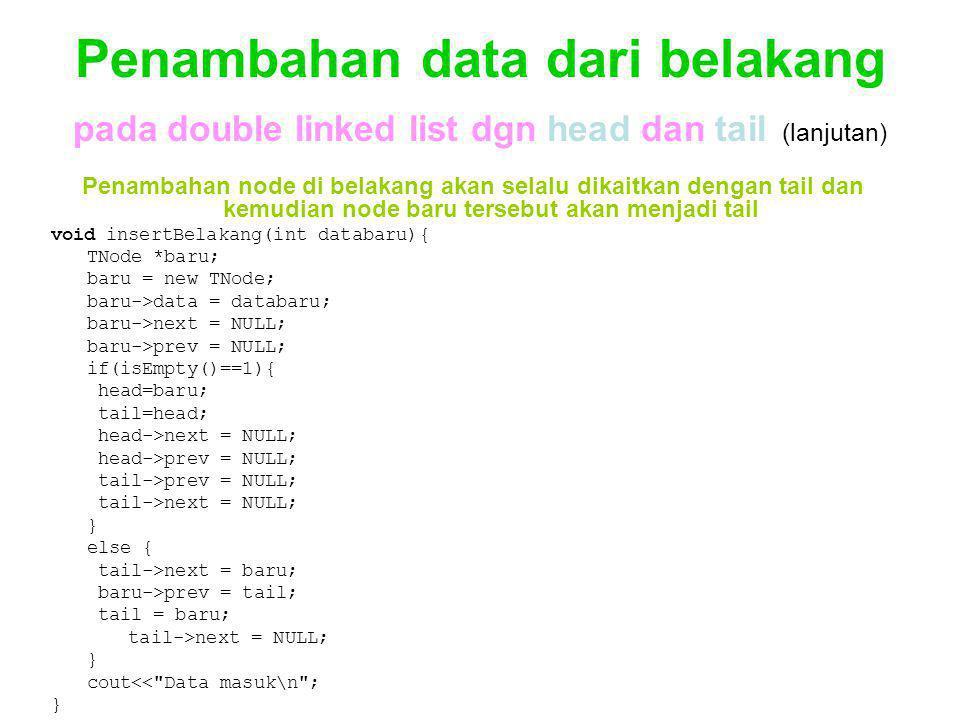 Penambahan data dari belakang pada double linked list dgn head dan tail (lanjutan)