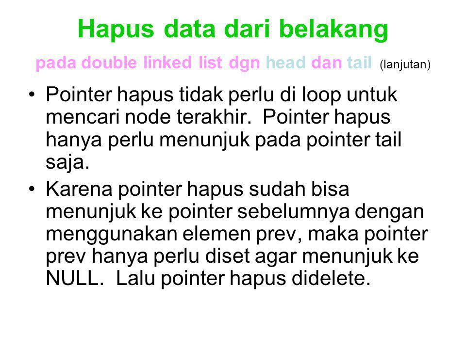 Hapus data dari belakang pada double linked list dgn head dan tail (lanjutan)