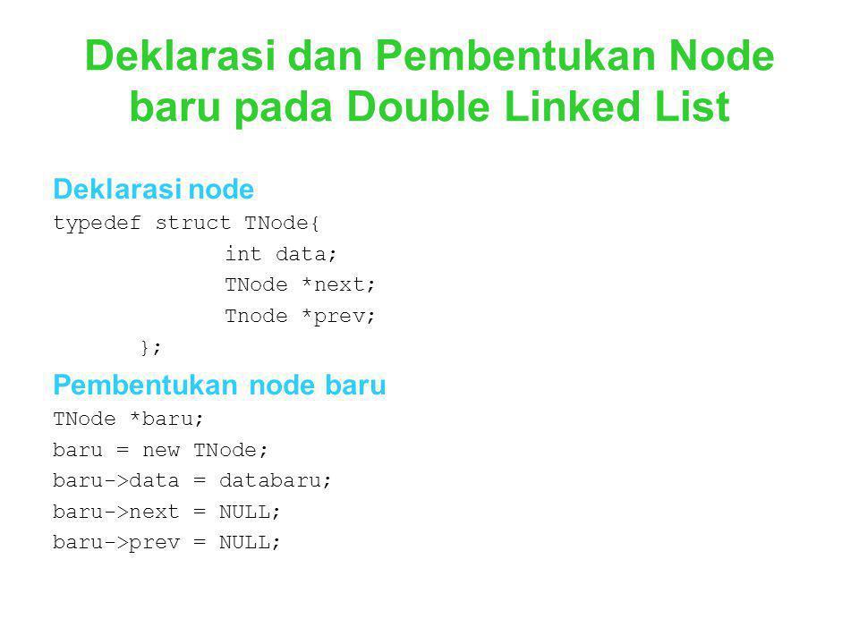 Deklarasi dan Pembentukan Node baru pada Double Linked List