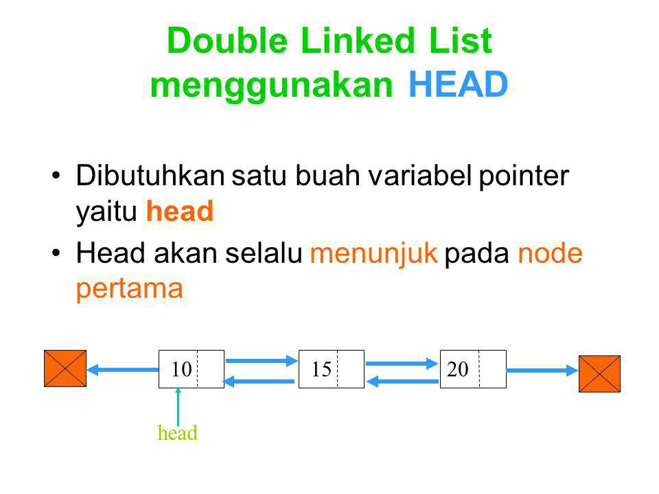 Double Linked List menggunakan HEAD
