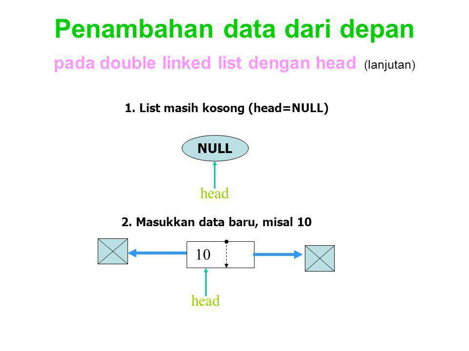 Penambahan data dari depan pada double linked list dengan head (lanjutan)