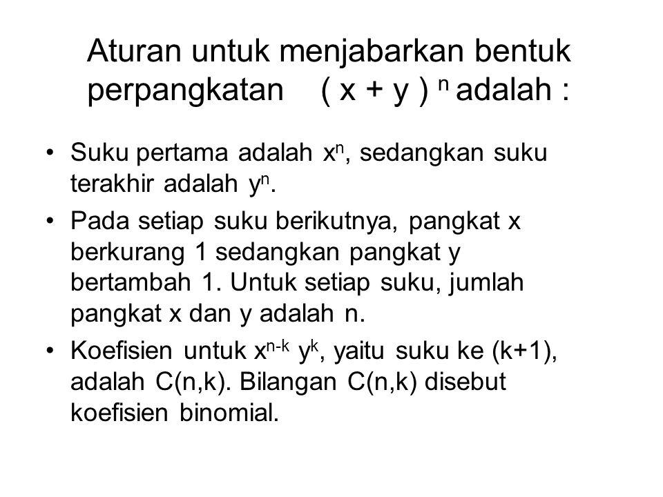 Aturan untuk menjabarkan bentuk perpangkatan ( x + y ) n adalah :