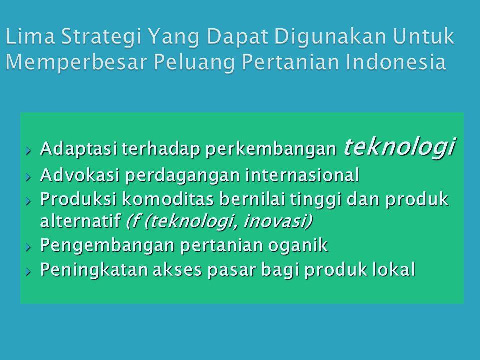 Lima Strategi Yang Dapat Digunakan Untuk Memperbesar Peluang Pertanian Indonesia