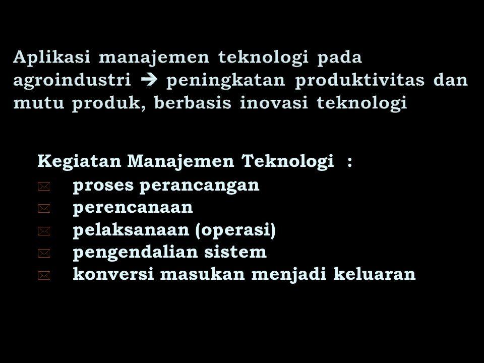 Aplikasi manajemen teknologi pada agroindustri  peningkatan produktivitas dan mutu produk, berbasis inovasi teknologi