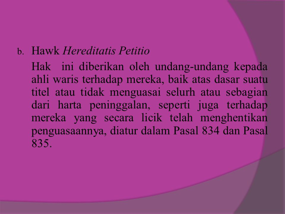 Hawk Hereditatis Petitio