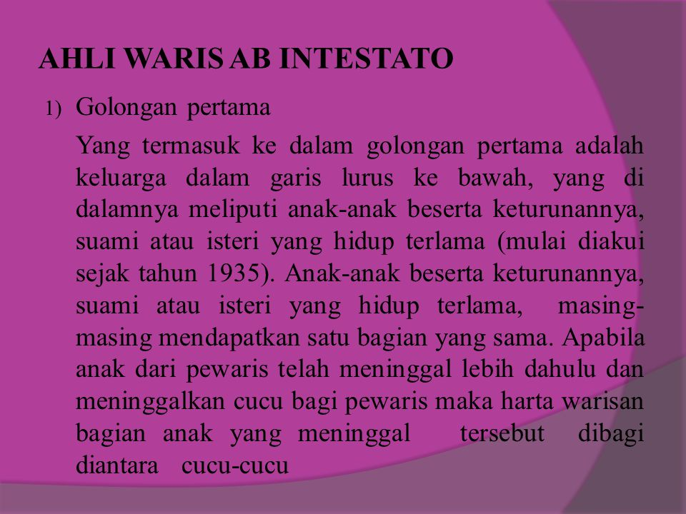 AHLI WARIS AB INTESTATO