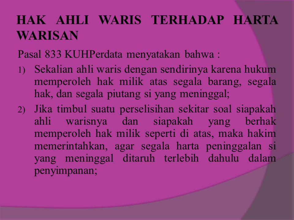 HAK AHLI WARIS TERHADAP HARTA WARISAN