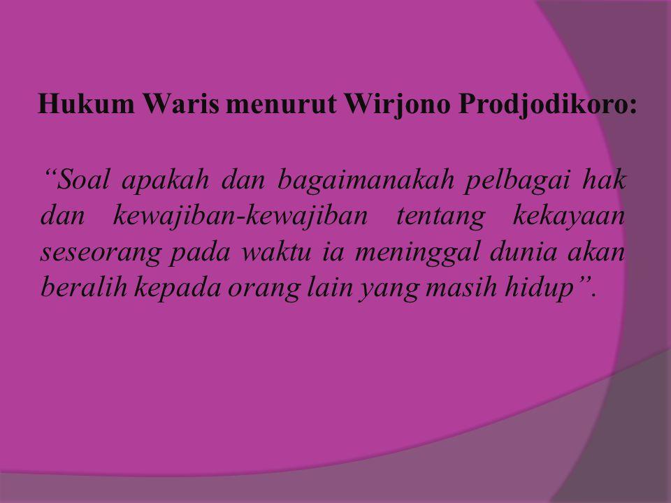 Hukum Waris menurut Wirjono Prodjodikoro: