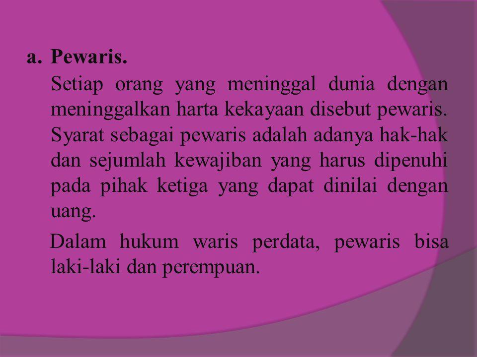 Dalam hukum waris perdata, pewaris bisa laki-laki dan perempuan.