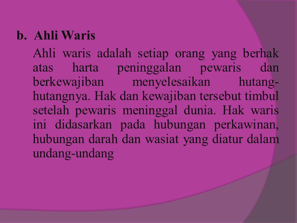 b. Ahli Waris