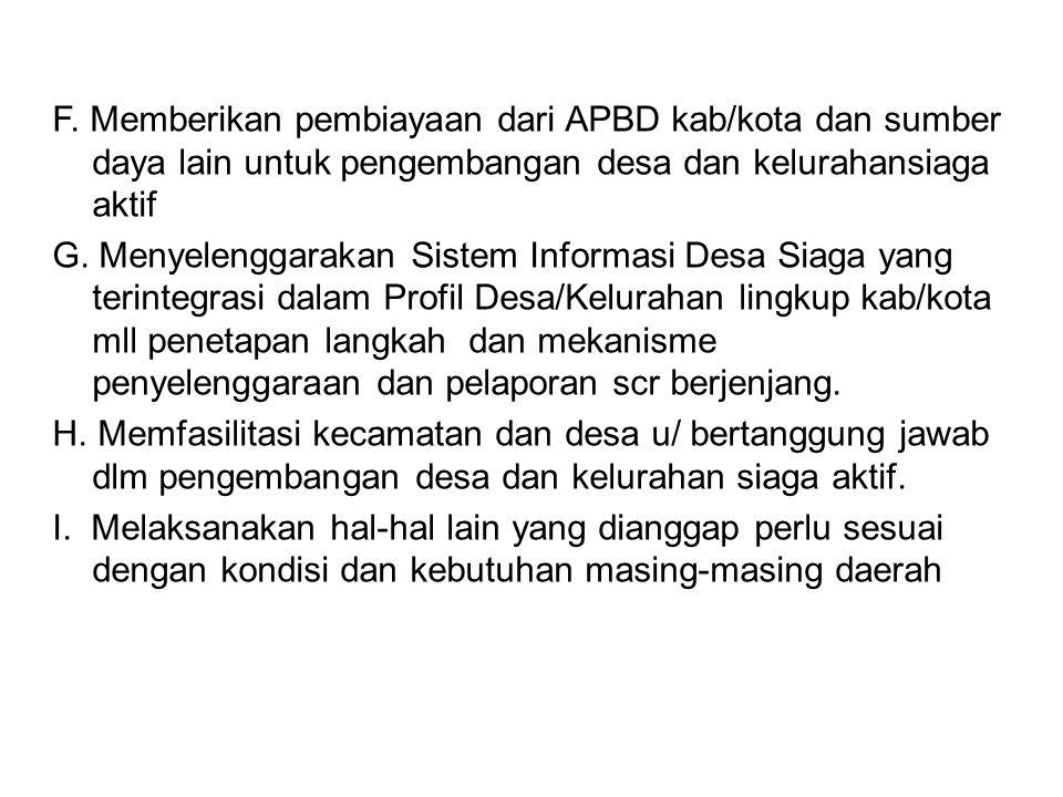 F. Memberikan pembiayaan dari APBD kab/kota dan sumber daya lain untuk pengembangan desa dan kelurahansiaga aktif
