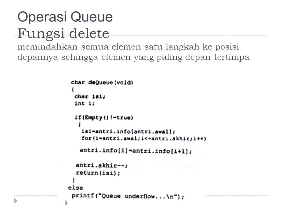 Operasi Queue Fungsi delete memindahkan semua elemen satu langkah ke posisi depannya sehingga elemen yang paling depan tertimpa