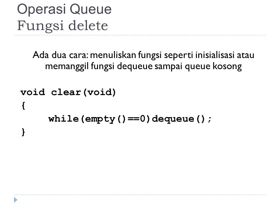 Operasi Queue Fungsi delete