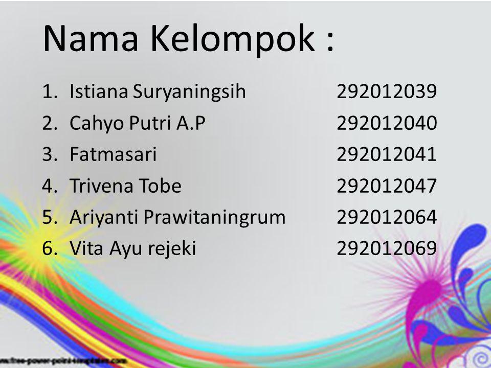 Nama Kelompok : Istiana Suryaningsih 292012039