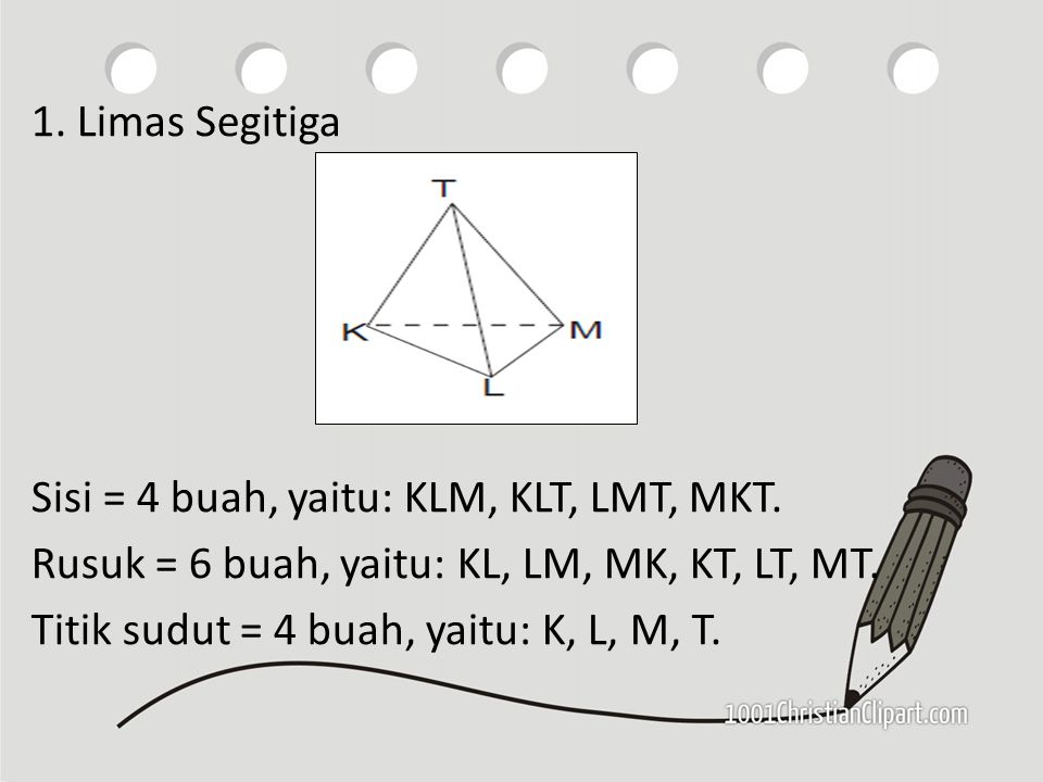 1. Limas Segitiga Sisi = 4 buah, yaitu: KLM, KLT, LMT, MKT