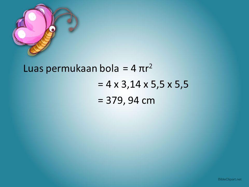 Luas permukaan bola = 4 πr2