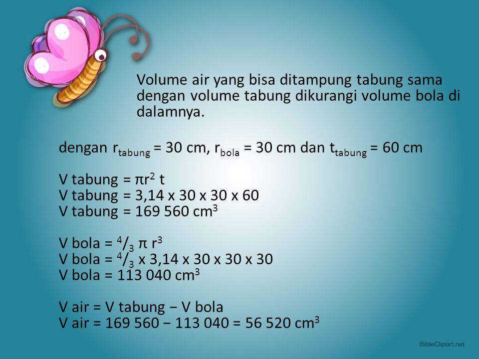 Volume air yang bisa ditampung tabung sama dengan volume tabung dikurangi volume bola di dalamnya.