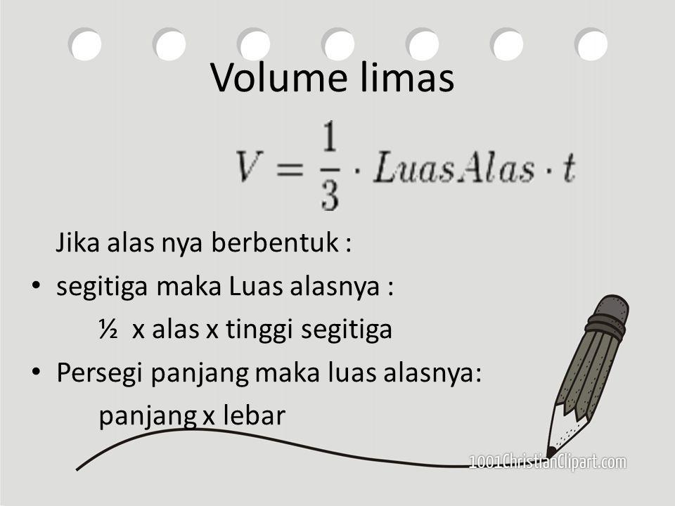 Volume limas Jika alas nya berbentuk : segitiga maka Luas alasnya :