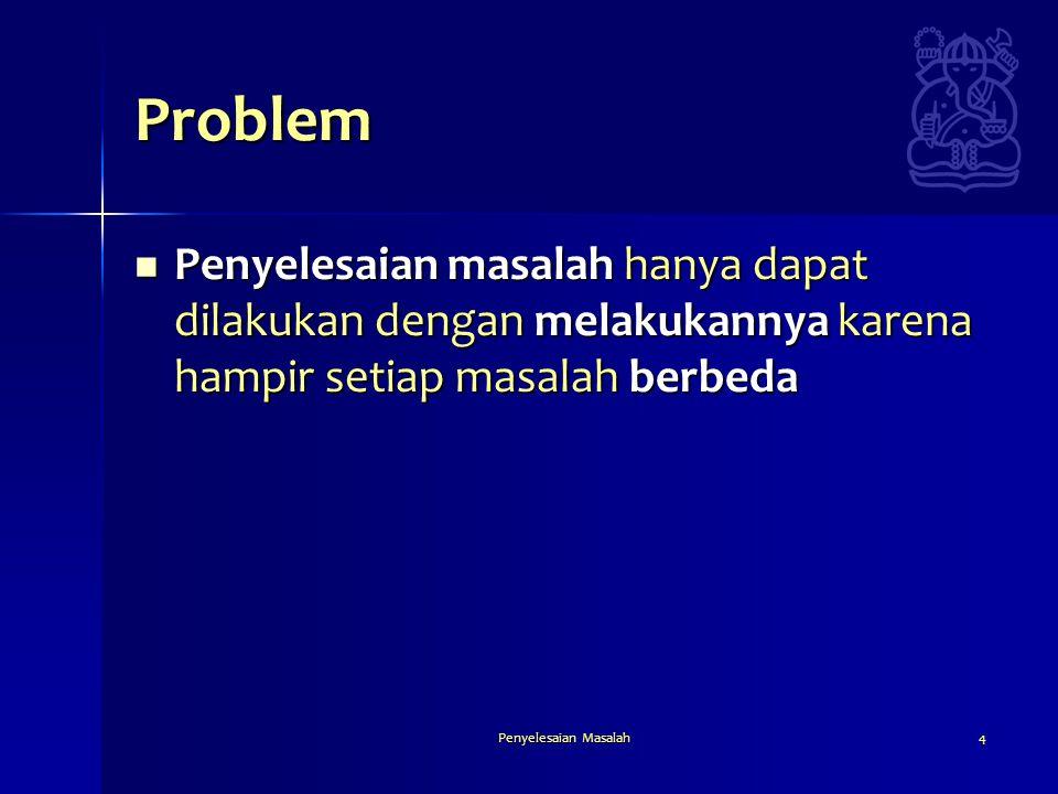 Problem Penyelesaian masalah hanya dapat dilakukan dengan melakukannya karena hampir setiap masalah berbeda.