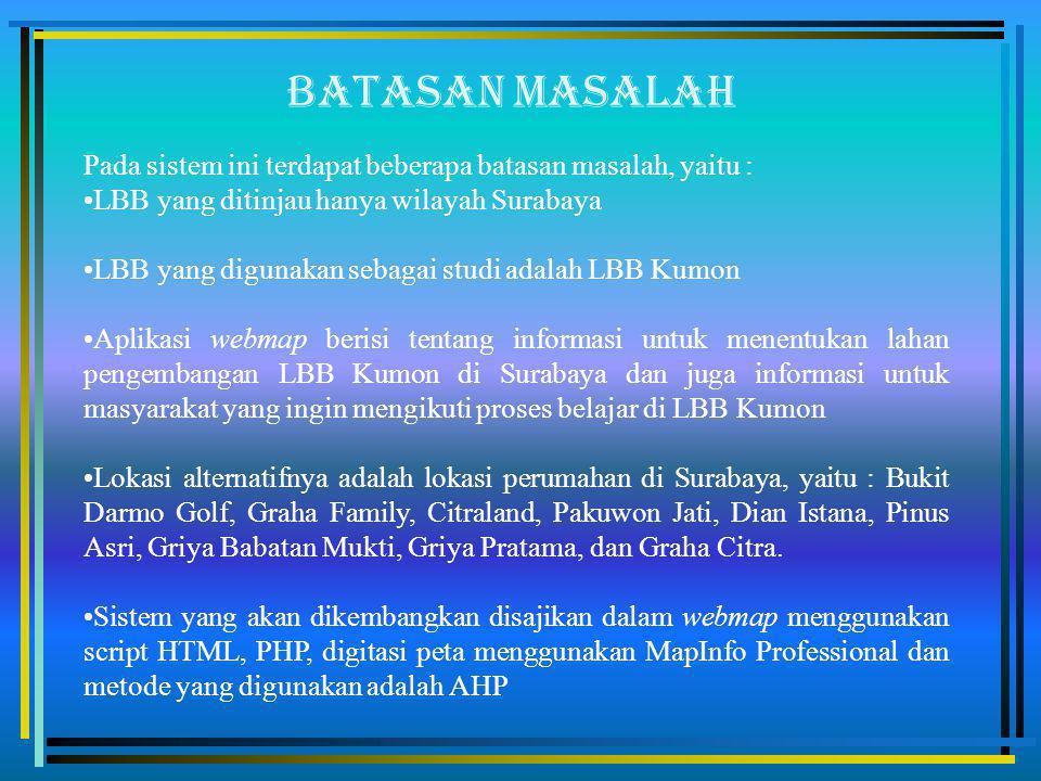 Batasan masalah Pada sistem ini terdapat beberapa batasan masalah, yaitu : LBB yang ditinjau hanya wilayah Surabaya.