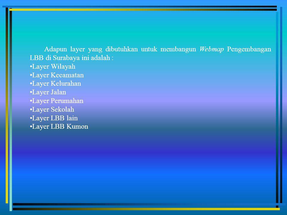 Adapun layer yang dibutuhkan untuk membangun Webmap Pengembangan LBB di Surabaya ini adalah :