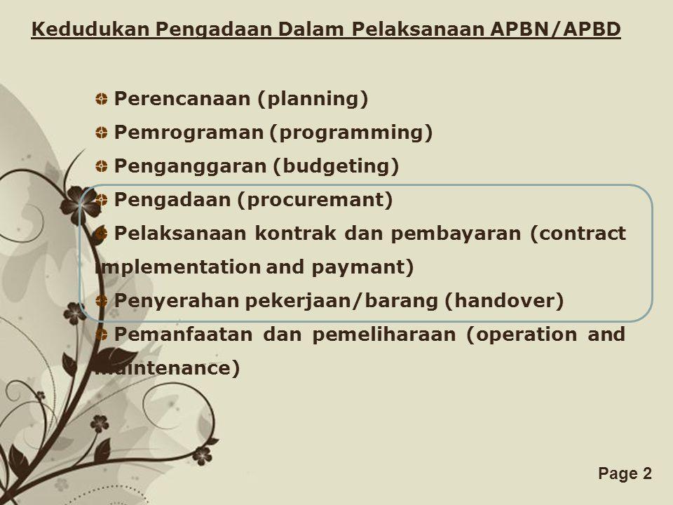Kedudukan Pengadaan Dalam Pelaksanaan APBN/APBD