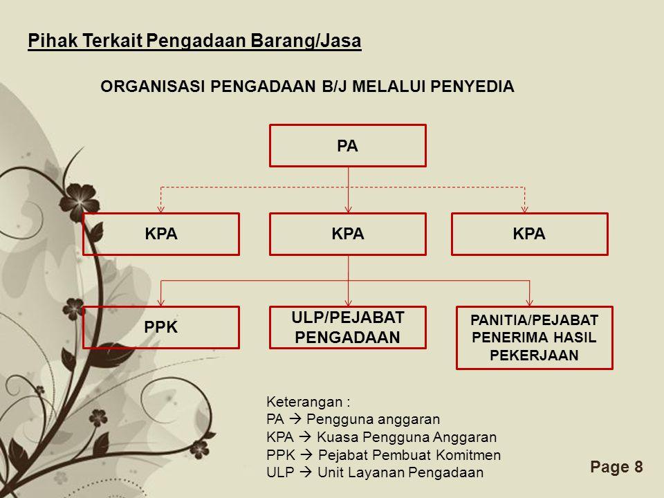 ULP/PEJABAT PENGADAAN PANITIA/PEJABAT PENERIMA HASIL PEKERJAAN