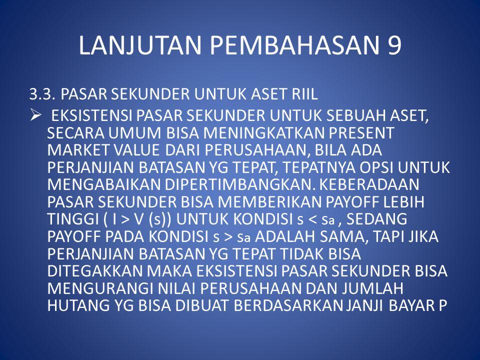 LANJUTAN PEMBAHASAN 9 3.3. PASAR SEKUNDER UNTUK ASET RIIL