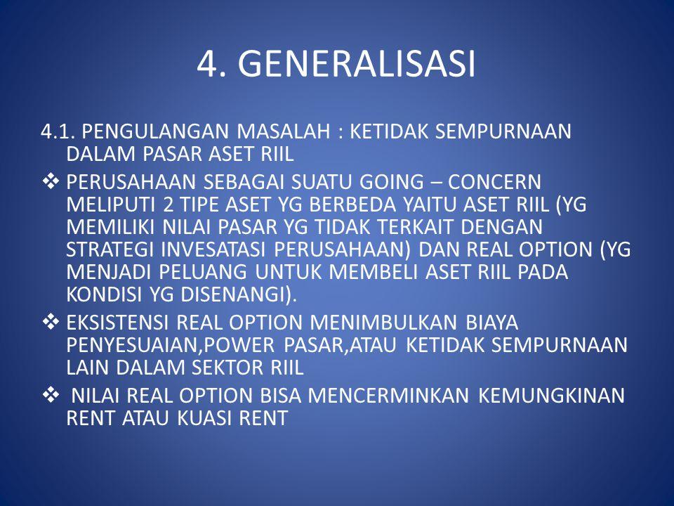 4. GENERALISASI 4.1. PENGULANGAN MASALAH : KETIDAK SEMPURNAAN DALAM PASAR ASET RIIL.