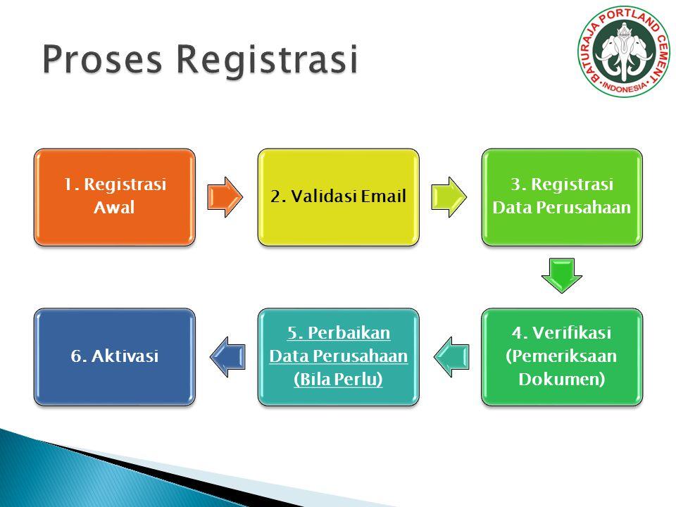 Proses Registrasi 1. Registrasi Awal 2. Validasi Email