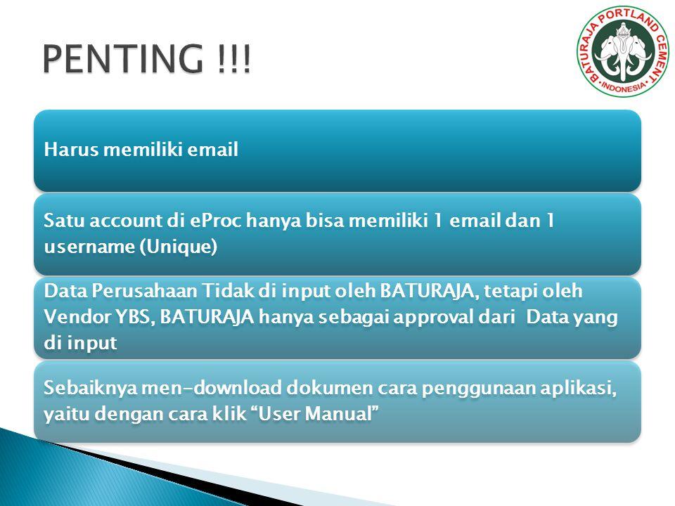 PENTING !!! Harus memiliki email