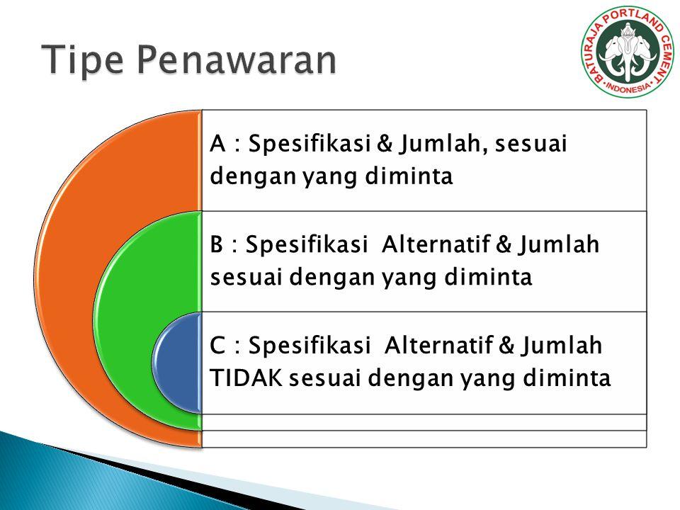 Tipe Penawaran A : Spesifikasi & Jumlah, sesuai dengan yang diminta
