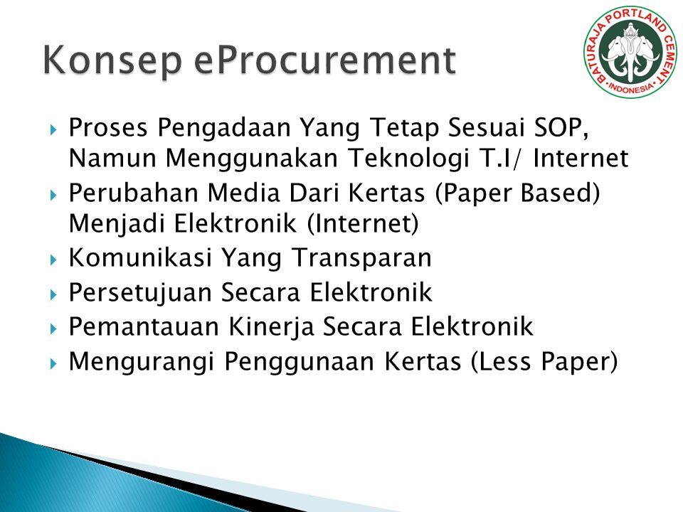 Konsep eProcurement Proses Pengadaan Yang Tetap Sesuai SOP, Namun Menggunakan Teknologi T.I/ Internet.