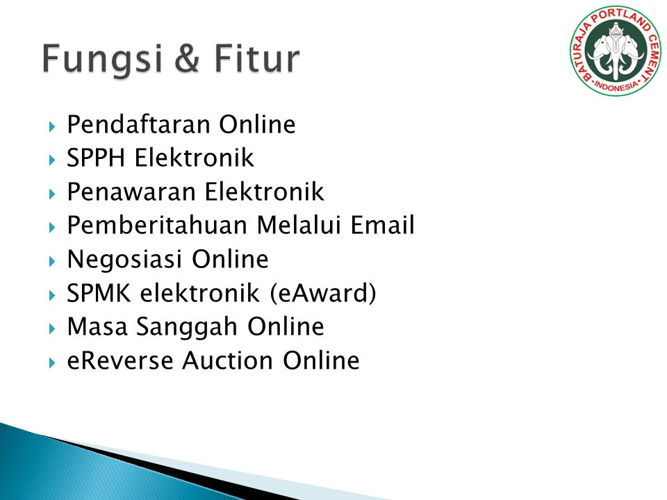 Fungsi & Fitur Pendaftaran Online SPPH Elektronik Penawaran Elektronik