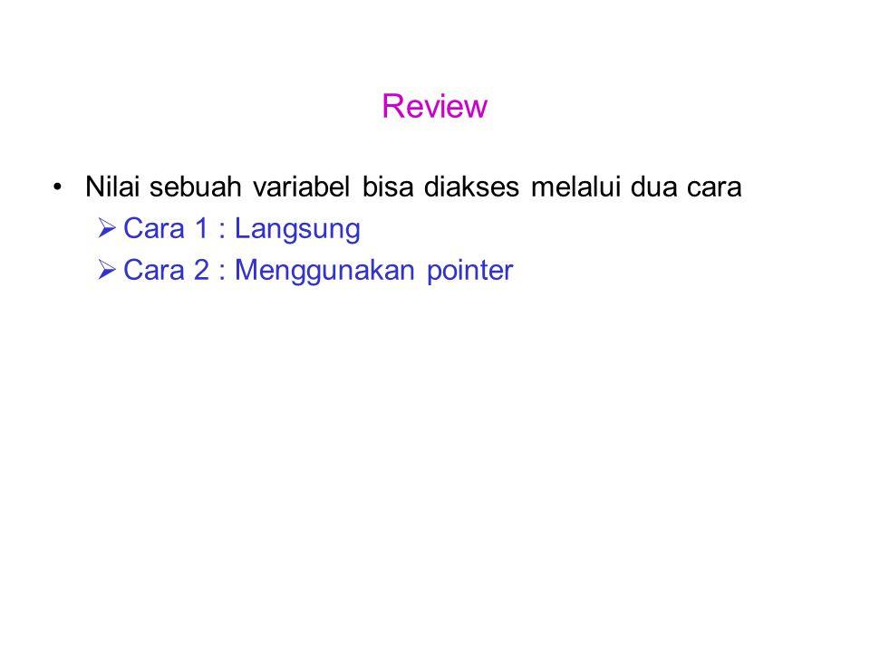 Review Nilai sebuah variabel bisa diakses melalui dua cara