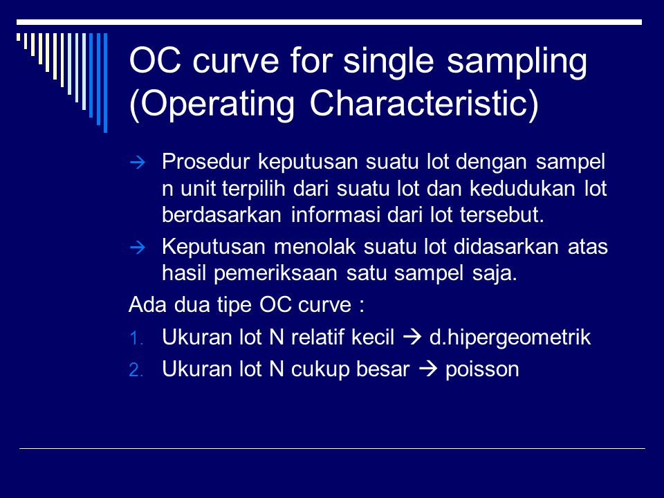 OC curve for single sampling (Operating Characteristic)