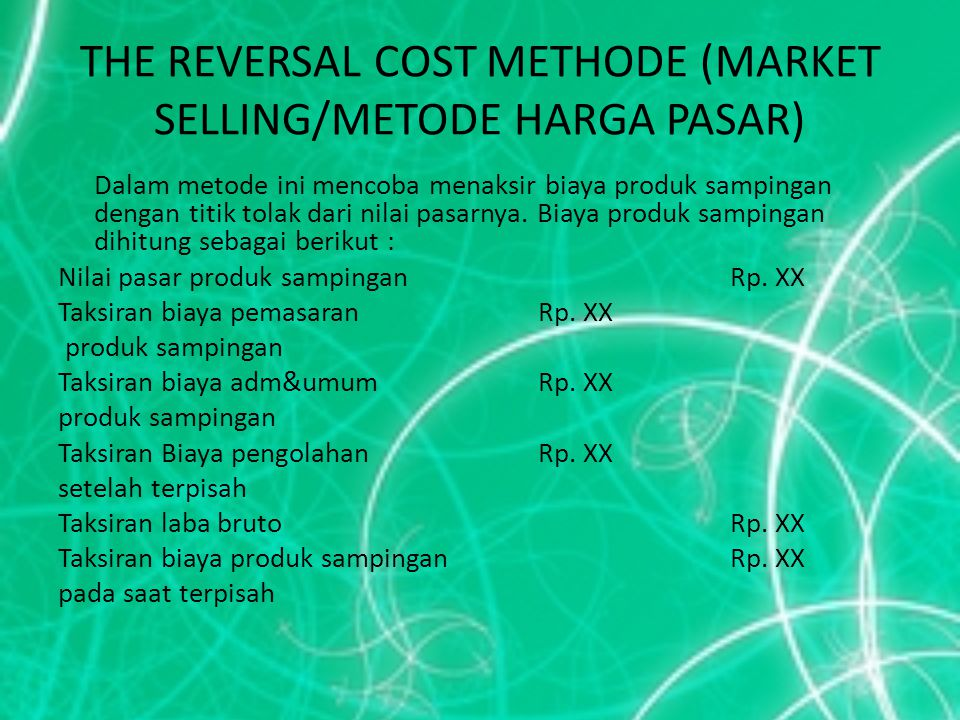 THE REVERSAL COST METHODE (MARKET SELLING/METODE HARGA PASAR)