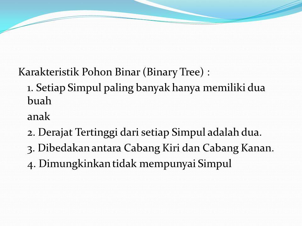 Karakteristik Pohon Binar (Binary Tree) : 1