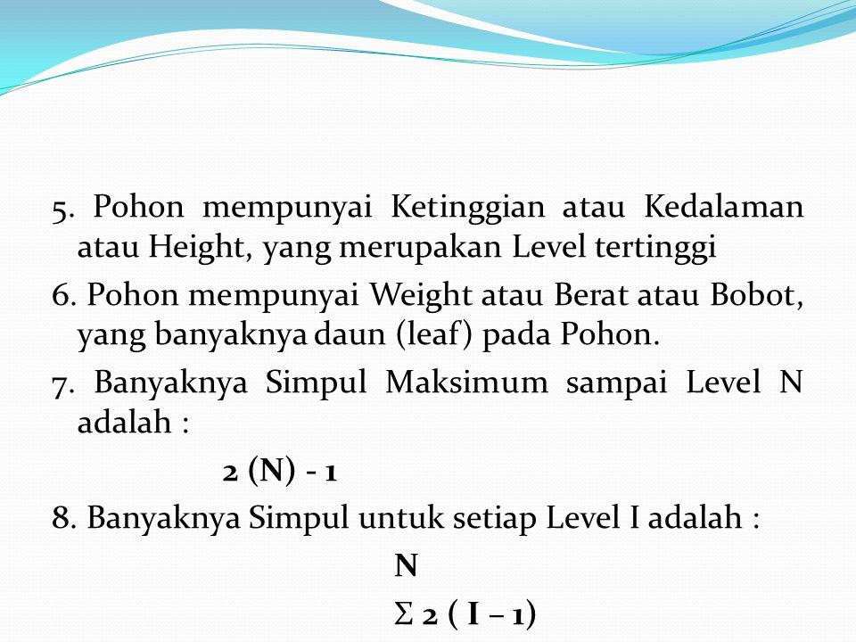 5. Pohon mempunyai Ketinggian atau Kedalaman atau Height, yang merupakan Level tertinggi 6.
