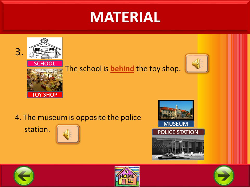 MATERIAL 3. The school is behind the toy shop.