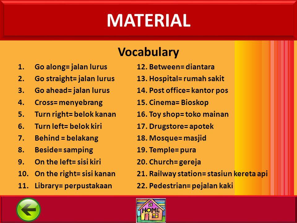 MATERIAL Vocabulary Go along= jalan lurus 12. Between= diantara