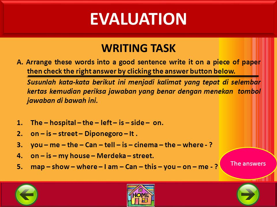 EVALUATION WRITING TASK