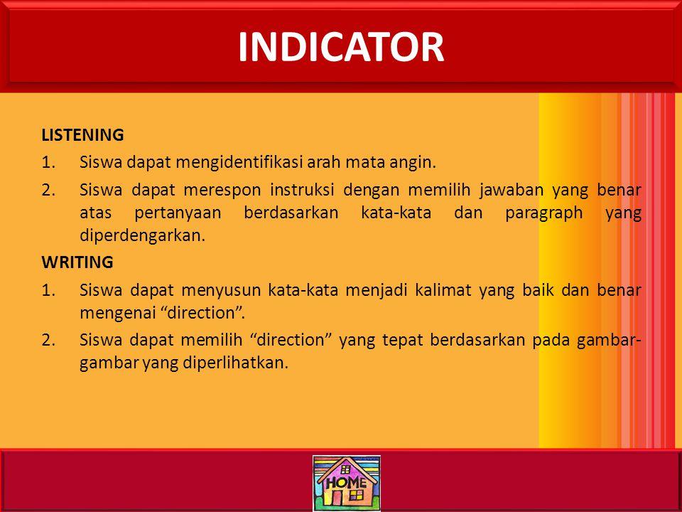 INDICATOR LISTENING Siswa dapat mengidentifikasi arah mata angin.