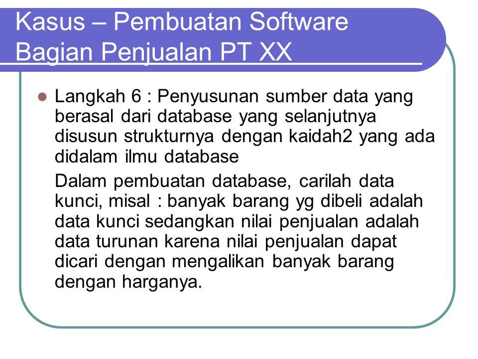 Kasus – Pembuatan Software Bagian Penjualan PT XX