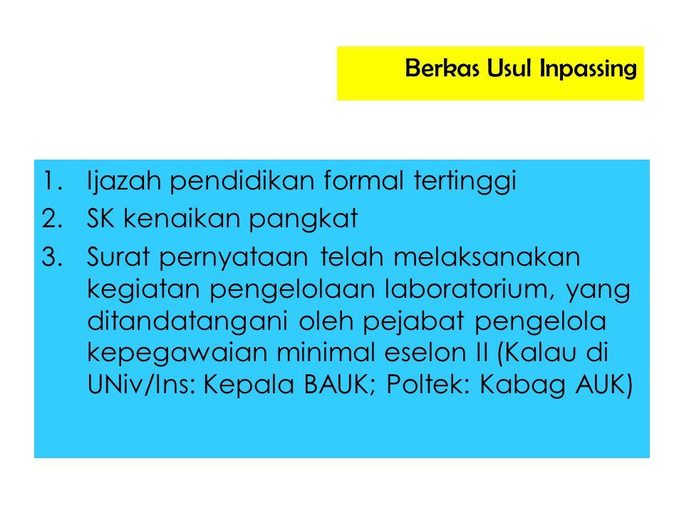 Berkas Usul Inpassing Ijazah pendidikan formal tertinggi. SK kenaikan pangkat.