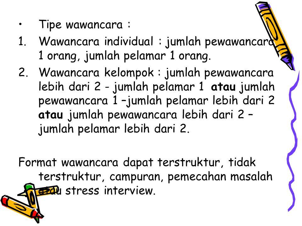 Tipe wawancara : Wawancara individual : jumlah pewawancara 1 orang, jumlah pelamar 1 orang.